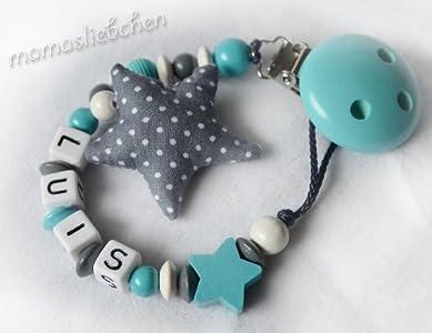 Mamasliebchen Schnullerkette mit Namen und Stern in türkis-grau ...