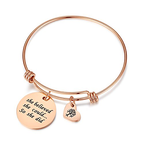 Studiocc Women Girls Jewelry She Believed She Could So She Did Bracelet with Heart Tree of Life, Birthday for Mom and Daughter, Wife, Girlfriend, Sister, Nurse, Friendship (Believed-Rose Gold) ()