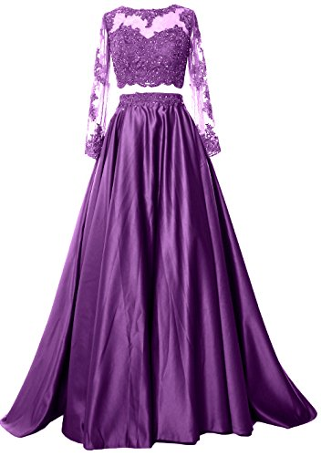 MACloth Women 2 Piece Long Sleeve Prom Dress 2017 Lace Satin Formal Evening Gown Morado
