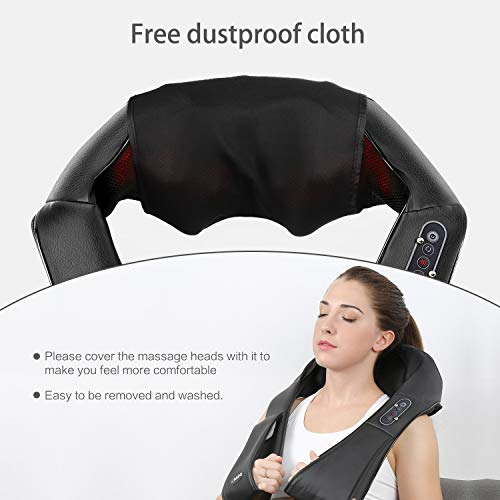 Naipo Shiatsu Back and Neck Massager with Heat Deep Kneading Massage for Neck, Back, Shoulder, Foot and Legs, Use at Home, Car, Office