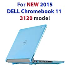 """mCover Hard Shell Case for 11.6"""" Dell Chromebook 11 3120 series Laptop released after Feb. 2015 with 180-degree LCD hinge (NOT compatible with 2014 original Dell Chromebook 11 210-ACDU series)(Aqua)"""