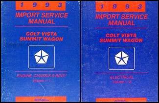 Dodge Colt Vista Wagon (1993 Colt Vista & Summit Wagon Repair Shop Manual Original 2 Volume Set)