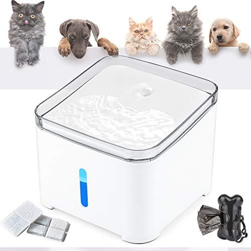 🥇 Makife Fuente de Agua para Gatos 2L Bebedero Automático Fuente de Agua para Mascotas Gatos Perros Luz LED nivel de agua visible filtros reemplazados