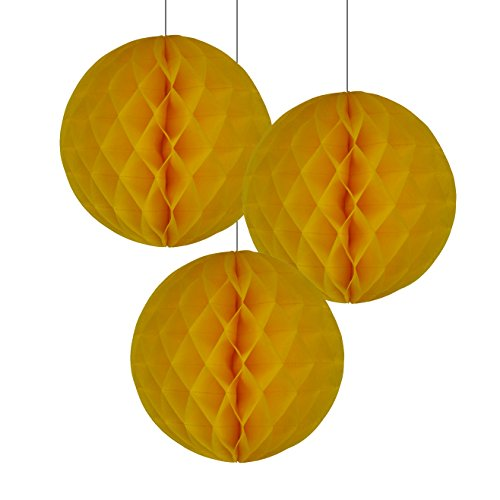 Just Artifacts - Tissue Paper Honeycomb Ball (Set of 3, 12inch, Yellow) - Click For More Colors & (Paper Honeycomb Ball)