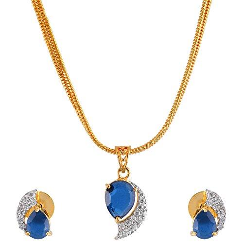 Handicraft Kottage Women's American Diamond Gold Plated Pendant Set with Chain