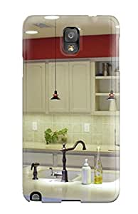 Snap-on Cream Kitchen With Red Top Lining And Island Sink Case Cover Skin Compatible With Galaxy Note 3
