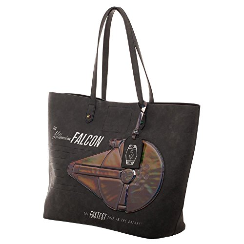 Star Wars Han Solo Millennium Falcon Oversized Tote With Iridescent Applique]()