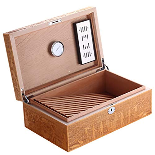 Vintage Cigar Box Cedar Wood Cigar Humidor with Lock Moisturizing Box