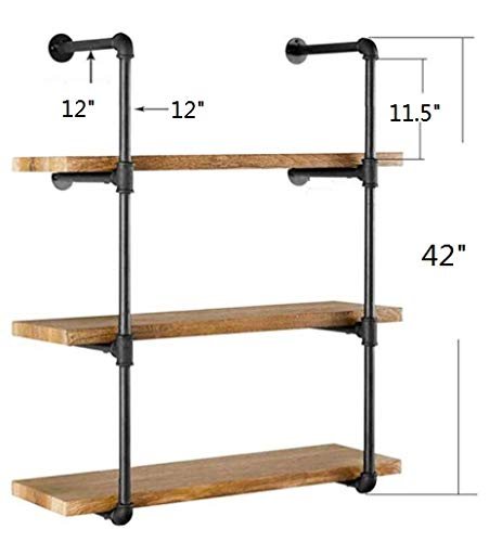 42'' H x 12'' D Industrial Wall Mount Iron Pipe Shelf Shelves Shelving Bracket Vintage Retro Black DIY Open Bookshelf DIY Storage offcie Room Kitchen (2 Pcs 4Tier Hardware Only) by My Rustic (Image #2)