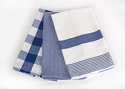 Superieur Three Blue And White Kitchen Towels By C U0026 F