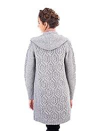 100% lana de merino irlandesa para mujer, ajuste clásico, largo con capucha.