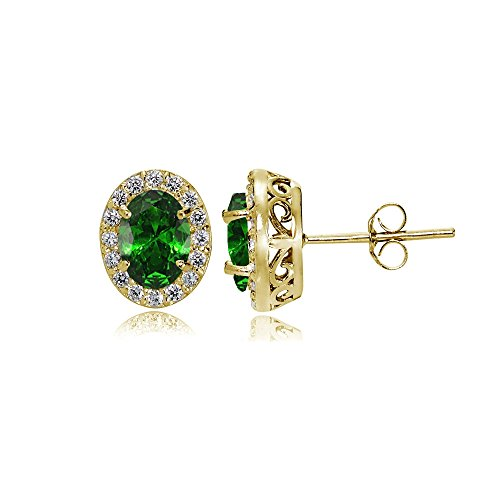 Yellow Gold Flashed Sterling Silver Simulated Emerald and Cubic Zirconia Accents Oval Halo Stud - Simulated Gems Earrings