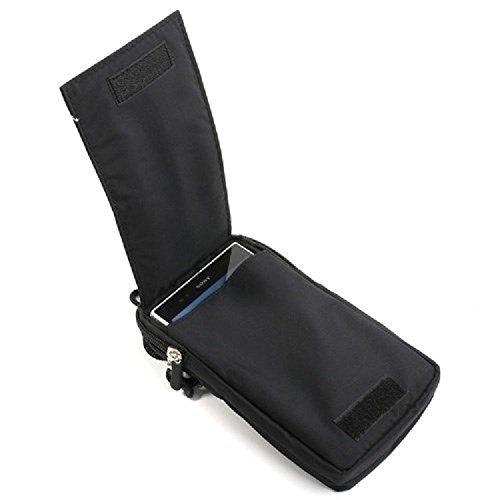 DFV mobile - Multi-functional Universal Vertical Stripes Pouch Bag Case Zipper Closing Carabiner for =>                     APPLE IPHONE X [2017] > BLACK XXL (19 X 11 cm)