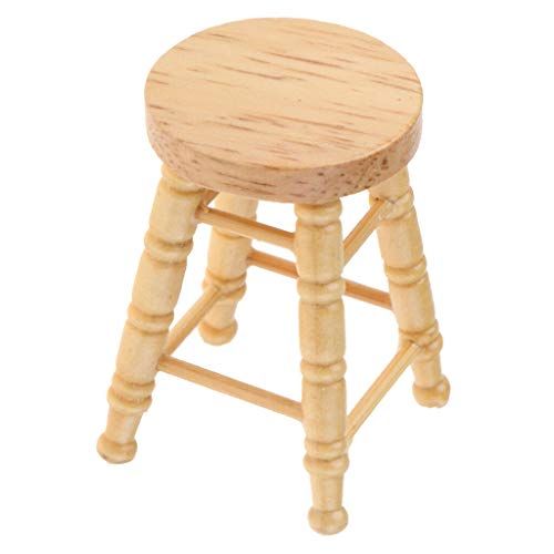 NATFUR Wooden Mini Round Stool Seating Dollhouse Miniature Chairs Room Items Decor from NATFUR