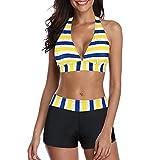 Zando Women's Bikini Swimsuit for Women 2 Piece Bathing Suits Push Up Bikini Top with Swim Shorts Athletic Boyshort Bikini Set Swimwear Bikinis Blue Yellow Stripe 2-4