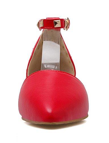 PDX/ Damenschuhe - Ballerinas - Kleid - Kunstleder - Flacher Absatz - Spitzschuh - Schwarz / Rot / Weiß black-us6.5-7 / eu37 / uk4.5-5 / cn37