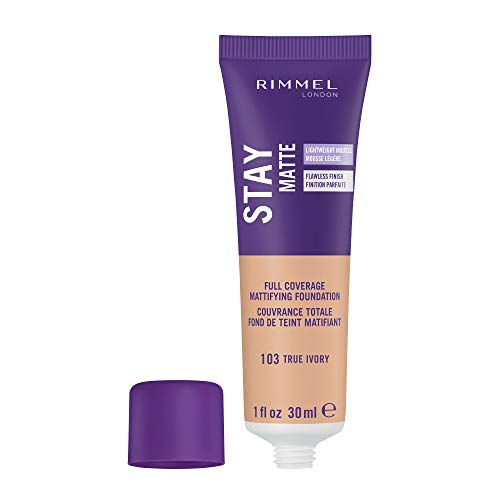 Rimmel Stay Matte Foundation True Ivory 1 Fluid Ounce Bottle Soft Matte Powder Finish Foundation for a Naturally Flawless Look - 30 ml