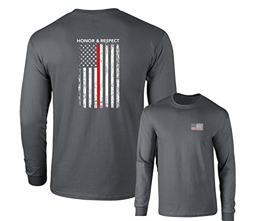 Honor Respect U.S. Flag Red Line Firefighter Long Sleeve T-Shirt, Charcoal, - Firefighter Shirt L/s Mens