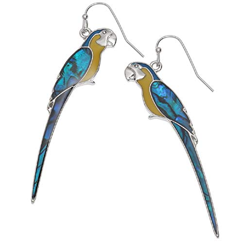 Mirabella BellaMira Silver Birds and Bees Pendants - Hummingbird Macaw Kingfisher Woodpecker Swan Bumblebee - Necklace for Women Girls Gift Boxed Jewelry (Earrings - Blue/Yellow Macaw)