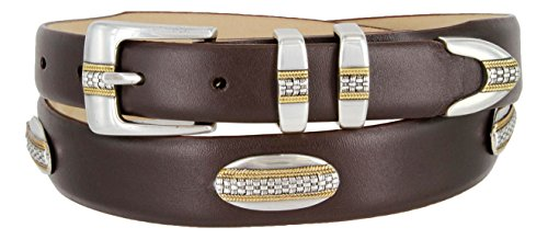 Gold Concho Belt (St. Andrews Gold - Italian Smooth Embossed Golf Belt with Conchos (Smooth Brown,)