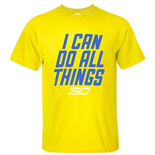 POCOO Men's Stephen Curry SC30 I Can Do All Things Cotton T-shirt yellow