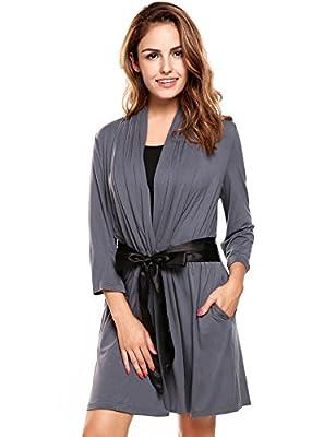 Avidlove Womens Three-quarter Sleeves Bathrobe Kimono Robe Comfort Sleepwear with Stain Waist Belt