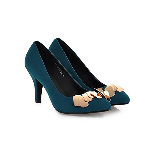 VogueZone009 Womens Pointed Closed Toe PU Frosted High Heels Solid Pump Shoes with Metal Piece Darkblue IpKLNrRBZ