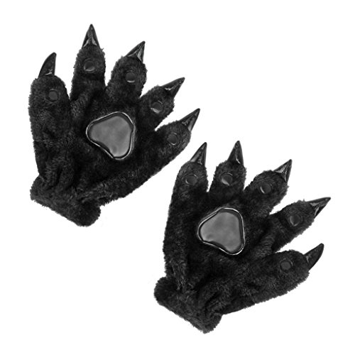Unisex Adults Kids Cartoon Animal Dinasour Bear Panda Cat Paw Claw Hand Gloves Halloween Fancy Party Cosplay Costume Props Mittens Winter Warm Plush Gloves Gift for Women Men Boys -