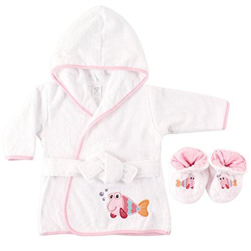 Luvable Friends Woven Terry Baby Bath Robe with Slippers, - Robe Footwear