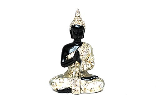 Miniature Buddha Figurine, Silver and Black, Decorative Figurine, Home Desktop Office Décor, Zen Decoration, Calming Atmosphere – (3.5