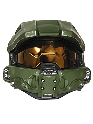 Disguise Men's Master Chief Adult Light-up Deluxe Helmet, Green One Size -