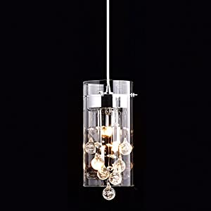 CLAXY Ecopower Lighting Glass & Crystal Pendant Lighting Modern Chandelier for Kitchen