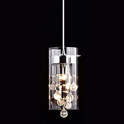 CLAXY Ecopower Lighting Glass & Crystal Pendant Lighting Modern Chandelier for Kitchen