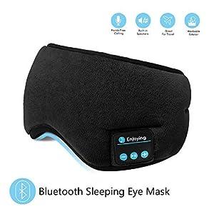 SKYEOL Bluetooth Sleeping Eye Mask Headphones, 4.2 Wireless Bluetooth Headphones Adjustable&Washable Music Travel Sleeping Headset with Built-in Speakers Microphone Hands-Free for Sleeping (Black)