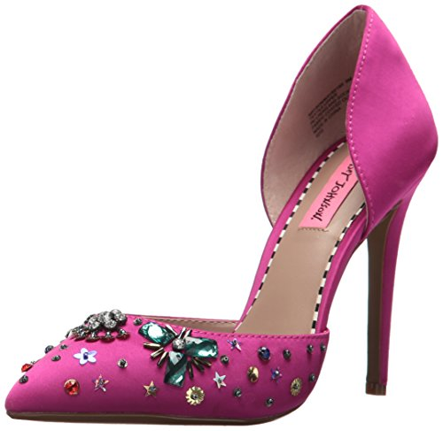 Pink Satin Shoes (Betsey Johnson Women's Mayson D'Orsay Pump, Magenta, 7.5 M US)