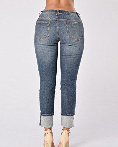 Pantaloni Casuale Up Vita Jeans Blu Media Donna Dritto Strappato Marino Push A dUwtqWF