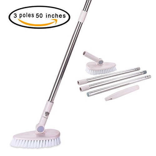 ostCat Grout Brush Removable Long Handle -/Tub/Tile/Floor/Wall/Bathroom/Recesses Scrubber with Stiff Bristle Lightweight Sturdy and Durable (17' Wall Floor)