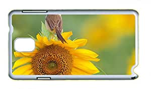 Cute brand new Samsung Note 3 case A bird standing on sunflower flower top PC White for Samsung Note 3/Samsung N9000