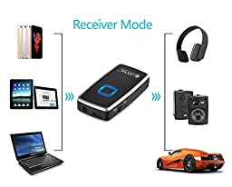 ESYNiC Bluetooth 3.0 Transmitter Receiver 2-in-1 Receiver Transmitter Wireless 3.5mm Audio Adapter Bluetooth Car Kit for Home Audio System iPhone iPad Samsung Galaxy Headphone PC HDTV DVD