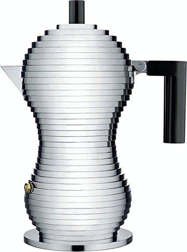 Alessi MDL02/3 B''Pulcina'' Stove Top Espresso 3 Cup Coffee Maker in Aluminum Casting Handle And Knob in Pa, Black