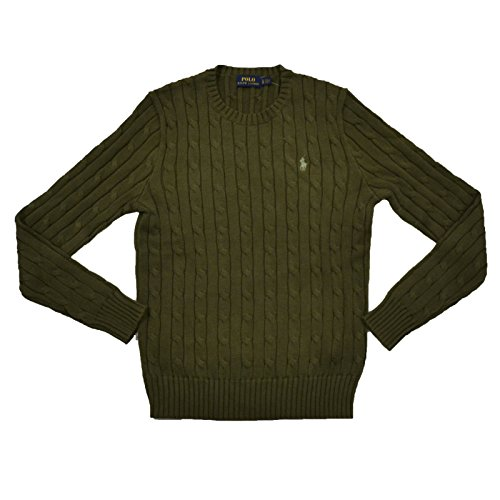Polo Ralph Lauren Womens Cable Knit Crew Neck Sweater (X-Small, Defender Green)