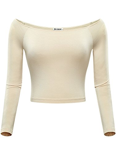 Over Long Sleeve Blouse - HUHOT Womens Basic Long Sleeve Off-Shoulder Short Cami Crop Tank Top Small Beige