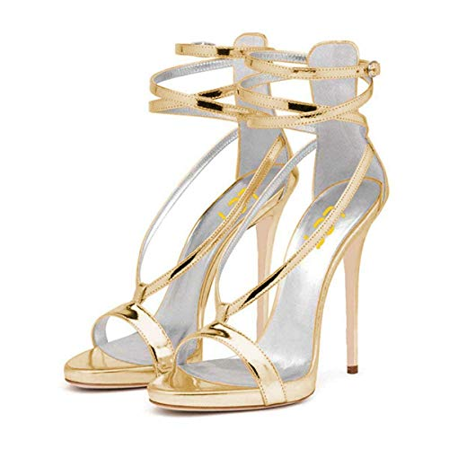 FSJ Women Sexy Strappy Sandals for Wedding Open Toe Metallic High Heels Pumps Shoes Size 9 Gold