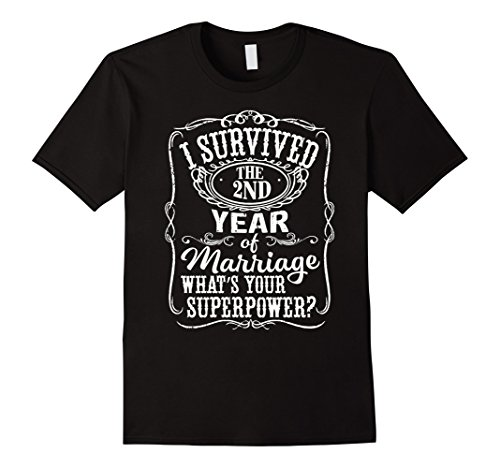 Men's Anniversary Gift 2nd – 2 years Wedding Marriage T-Shirt Large Black