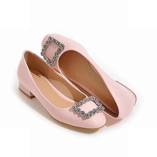 Charm Foot Womens Comfort Low Heel Rhinestone Round Toe Pump Shoes Pink m3UCzv