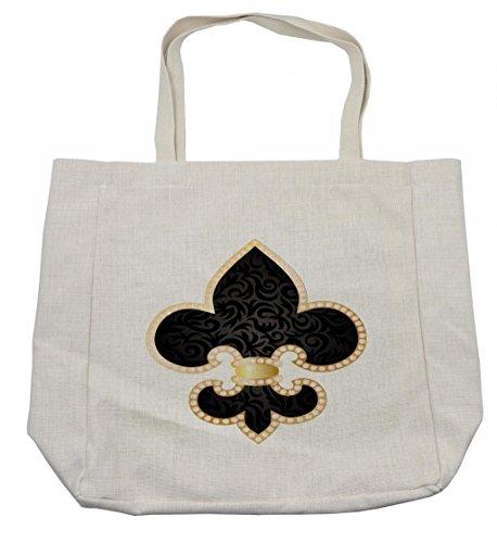 Ambesonne Fleur De Lis Shopping Bag, Royal Legend Lily Throne France Empire Family Insignia Design Image, Eco-Friendly Reusable Bag for Groceries Beach Travel School & More, Cream