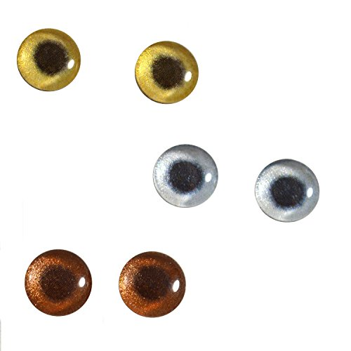 3 Pairs Bundle 10mm Metallic Glass Eyes for Jewelry Pendant Making Art or Taxidermy Doll Sculpture Crafts Small