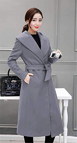 Femme Parker Mode Casual Longues Coupe Vent Printemps Young Styles Uni Manche Automne Slim Fit Coat lgant Manches Longues Revers avec Ceinture De Haute Qualit Hipster Outerwear Manteau Grau