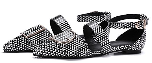 IDIFU Women's Fashion Closed Pointed Toe Buckled Flats Cut Out Low Top Ankle Strap Sandals Shoes (9 B(M) US, Black 2) by IDIFU (Image #1)