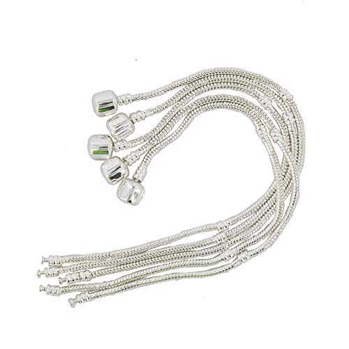 Yeshan 5PCS Women Silver Plated Bracelet Snake Chain with Classic Bead Barrel Clasp Fits All Chamilia Troll Biagi Beads-7.5 inch